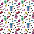Seamless festive pattern Valentine`s Day