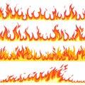 Seamless fire flame. Fires flaming pattern, flammable line blaze hot temperature, gas blazing wallpaper cartoon vector
