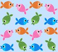 Seamless fish pattern background for fashion or interior Stock Photo