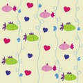 Seamless fishes pattern Stock Photo