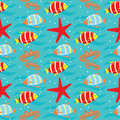 Seamless fishes pattern. Stock Photo