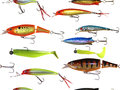 Seamless fishing lure background Royalty Free Stock Photo