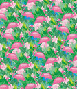 Flamigo bird freedom vertical seamless pattern