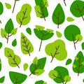 Seamless flat pattern trees and leaves