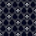 Seamless Fleur de Lis Art Nouveau Scale Pattern with Silver Over Royalty Free Stock Photo
