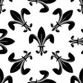 Seamless fleur de lys pattern in black and white Royalty Free Stock Image