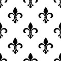 Seamless fleur de lys wallpaper vector of a motif in a repeating pattern in black and white Stock Image
