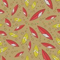 Seamless floral abstract pattern of red-orange and yellow with white stripes of leaves, green-brown circles and background