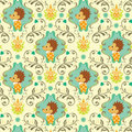 Seamless Floral Animals Pattern I Stock Photo