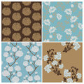 Seamless Floral Background Beautiful Set Royalty Free Stock Image