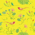Seamless floral background with birds bright lotus flower and Royalty Free Stock Image