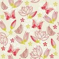 Seamless floral background with butterfly in vecto Royalty Free Stock Image