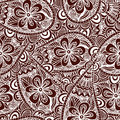 Seamless floral background. Ethnic doodle design pattern. Abstract henna ornament. Royalty Free Stock Photo