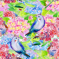 Seamless floral background with flowers and birds. Royalty Free Stock Photo