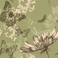 Seamless floral background with flying butterflies
