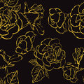 Seamless floral background with hand drawn gold roses vector eps abstract vintage retro element Stock Photo