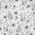 Seamless floral background illustration of from lilies and leaves in black and white colors isolated Royalty Free Stock Photo