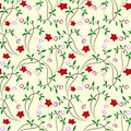 Seamless floral background with red flowers Stock Photography