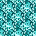 Seamless floral background in turquoise colors vector illustration Royalty Free Stock Image
