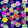 Seamless floral background vector illustrations colorful flowers in a chaotic manner Stock Photos