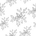 Seamless floral background vector symbolical flowers and leafs contours Stock Photos