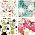 Seamless floral backgrounds set Royalty Free Stock Photo