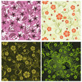 Seamless floral backgrounds set Stock Images