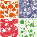 Seamless floral backgrounds set Stock Photo