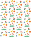 Seamless floral and berry pattern. Watercolor Children`s style.