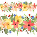 Seamless floral border. Roses and wild flowers drawn watercolor.