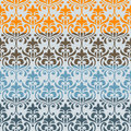 Seamless floral borders differect colors Royalty Free Stock Images