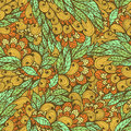Seamless floral bright doodle pattern vintage summer orange and blue Royalty Free Stock Photo