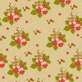 Seamless floral bright pattern bunch of red and white flowers with green leaves on light brown background Stock Photography