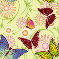 Seamless floral butterfly pattern Stock Photo