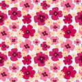 Seamless floral cute pattern with poppies and daisies