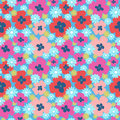 Seamless floral cute pattern with poppies and dandelions