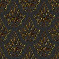 Seamless floral damask black gold background brocade pattern Royalty Free Stock Image