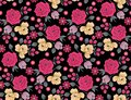 Seamless floral flower pattern with black background