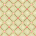 Seamless floral geometric pattern vector with coral pink flowers brown lines and beige wavy ornaments retro design background Royalty Free Stock Photo