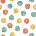 Seamless floral geometrical pattern. Small flowers, Polka dot