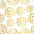 Seamless floral gold foil pattern illustration. Shiny metallic golden repeating background design with flowers for home Royalty Free Stock Photo