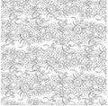 Seamless floral horizontal monochrome pattern