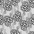 Seamless floral lace pattern. Monochrome repeating background. Royalty Free Stock Photo