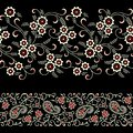 Seamless floral paisley border on black color