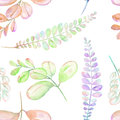 Seamless floral pattern with the abstract watercolor purple, pink and green branches Royalty Free Stock Photo