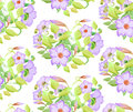 Seamless floral pattern with adenium, watercolor imitation. Vector illustration. Pink flowers and light green leaves