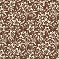 Seamless floral pattern background with beige on brown Stock Image