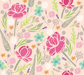Seamless floral pattern background with flowers and leafs Royalty Free Stock Image