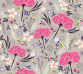 Seamless floral pattern background with flowers and leafs Stock Photos