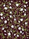 Seamless floral pattern background with magnolia flowers, spring branches. Vector illustration